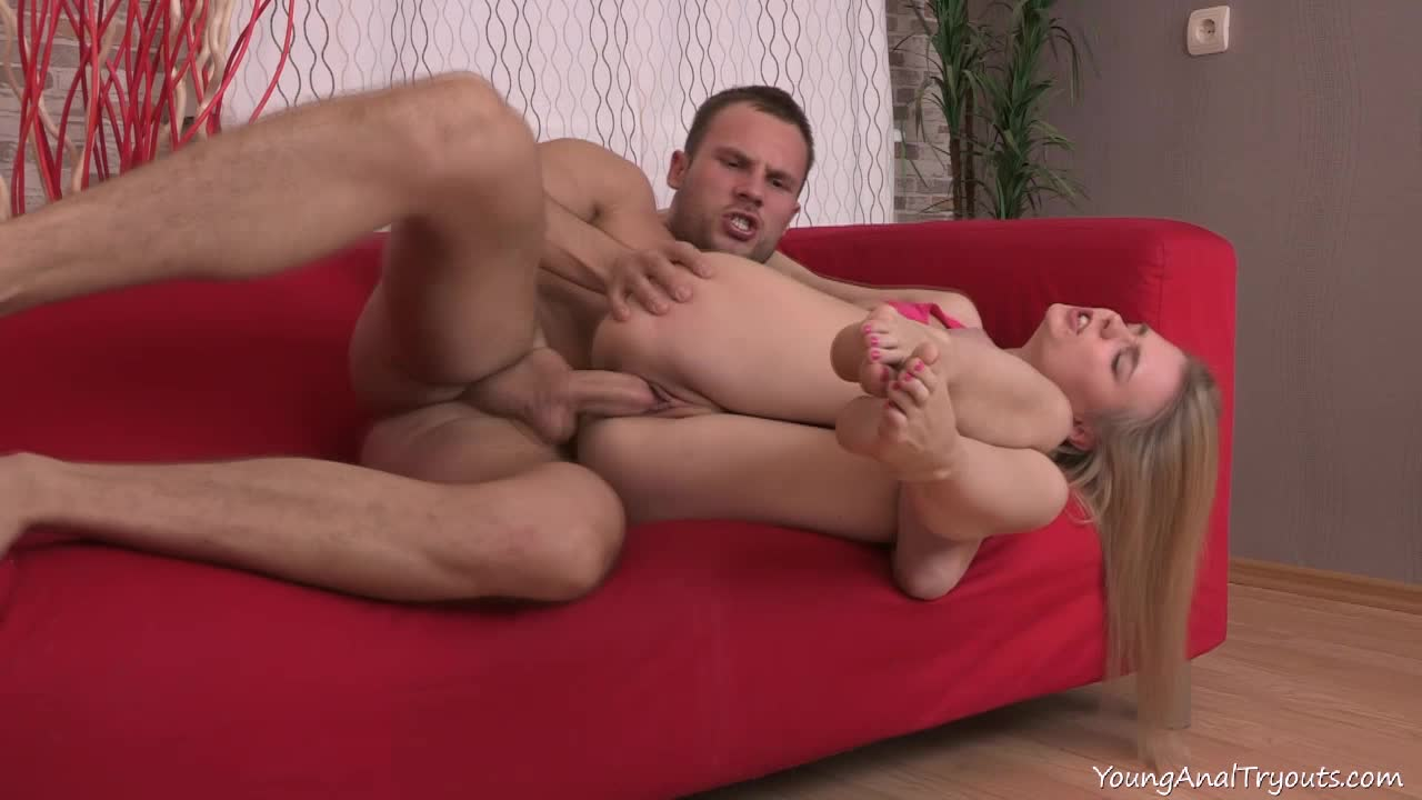 Mary sucked the guy's young cock before it gave her ass her first anal