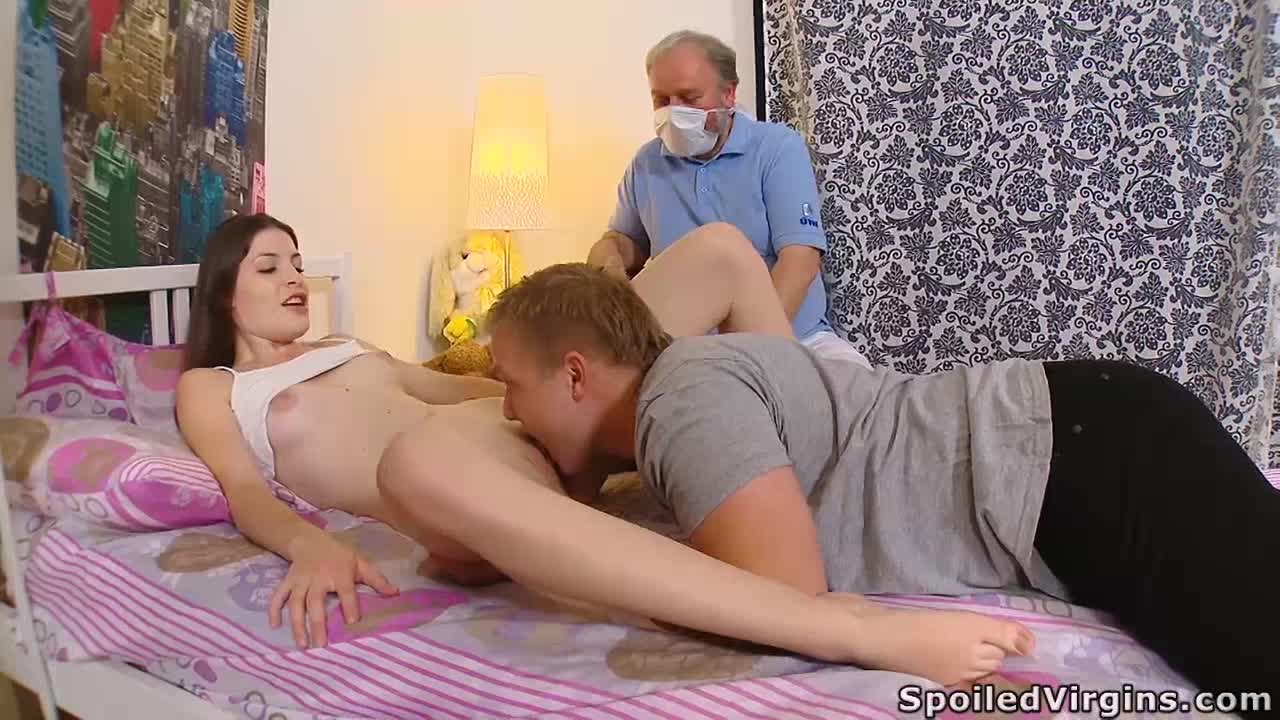 Marina and her young man are in the bedroom and her virgin body is awesome.